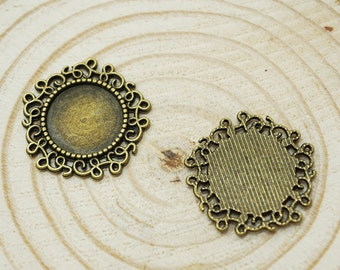 Cabochon Base -10pcs Antique Bronze Cabochon Setting Bezel Tray Charm Pendants 14mm (501-81-A)