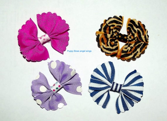 Puppy Bows ~ Angel wings MULTI COLORS dog pet hair bow - USA made and sold