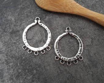 Chandelier hoops, round, ethnic hoops, silver - 32 x 25 mm
