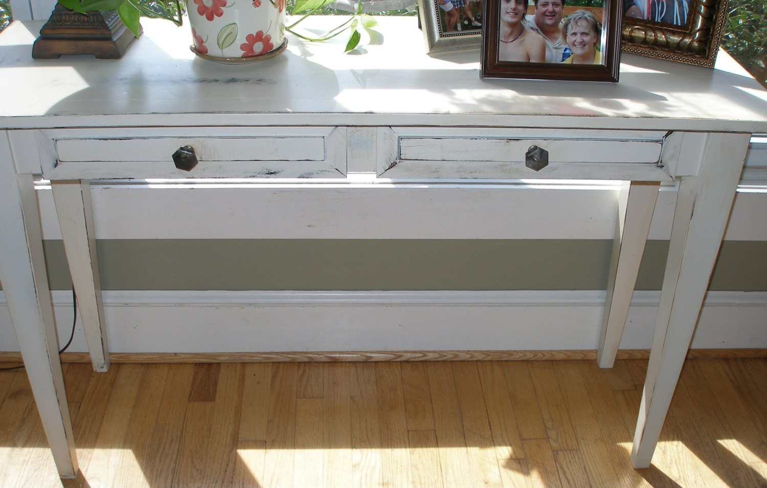 Foyer Table Distressed : Desk foyer table white shabby chic