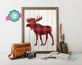 Plaid Moose Lumberjack Birthday Party Decor Printable Art First Birthday Gift for Him Husband Father's Day Maine Buffalo Red Plaid