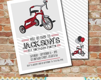 Tricycle Birthday Party Invitation- Bike / Trike / Radio Flyer / Red / 1st Birthday Invitation