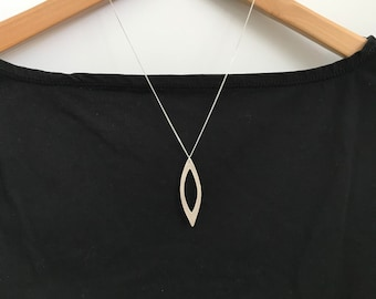 HAILEY- Large marquise pendant, brushed silver, necklace, sterling silver with 960 sterling metal clay