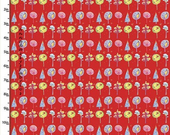 Colorful Trees Fabric, Whimsical Trees Quilt Fabric, Quilters Palette Color Me Fun 12728 Red, Baby & Children's Fabric, Cotton