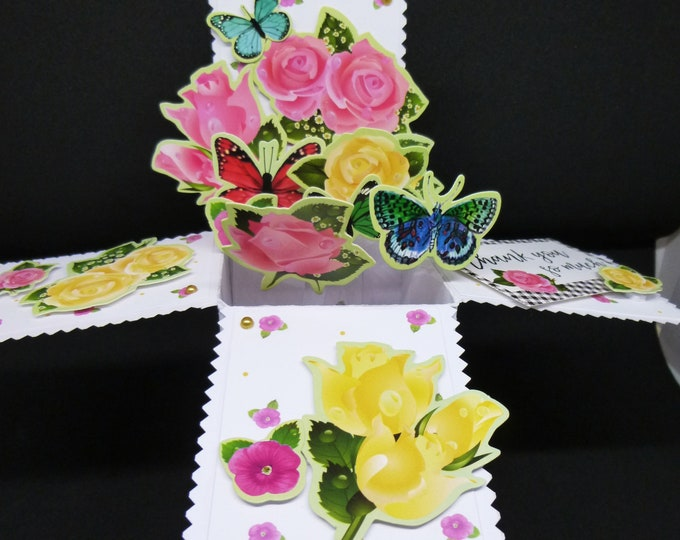 3 D Pop up Card, Floral Card, Flowers and Butterflies, Birthday Card, Thank You Card, Greeting Card, Any Age, Female