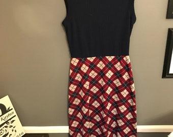 Vintage sleeveless plaid dress