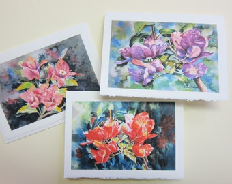 Bougainvilleas Variety YOU PICK ONE 5 x 7 note card watercolor print by watercolorsNmore