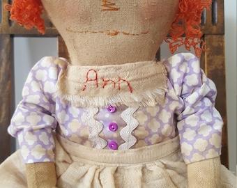 Primitive Raggedy Ann Rag Doll- Nutmeg Originals