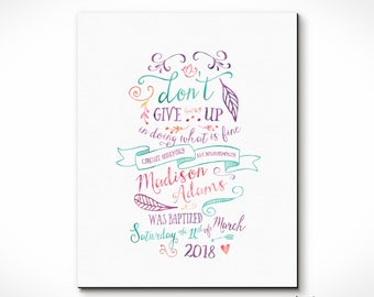 Modern Typography Baptism Print Keepsake for Jehovah's Witnesses - Theme, Name, Location, Date of Baptism. Watercolor Effect. JW