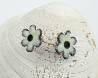 Cream Flower Earrings, Organic Shape Floral Studs, Torch Enamel Jewelry