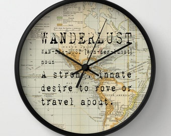 Wanderlust Wall clock - Wanderlust on Vintage Map of the World Wall Clock - Original Design - Home decor by Adidit
