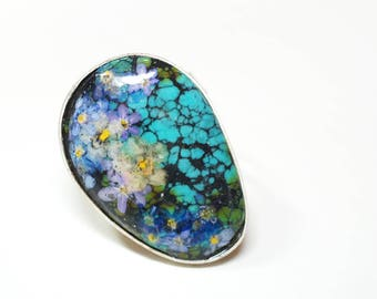 Handmade Turquoise Silver Flower Ring - forget me not flower ring - adjustable size - pressed flower, blue 'fortget-me-not' flower