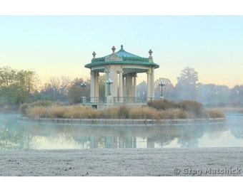 Fine Art Color Landscape Photography of Bandstand and Pagoda Lake in Forest Park Saint Louis
