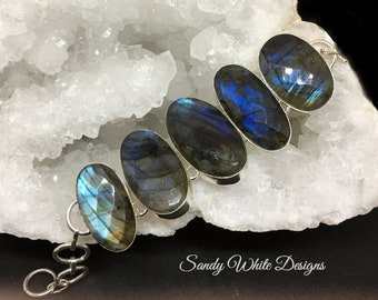 Labradorite Link Bracelet In Sterling Silver ~ Beautiful Faceted  Blue Flash Stones  Adjustable Length up to 7 Inches   #sandywhitedesigns