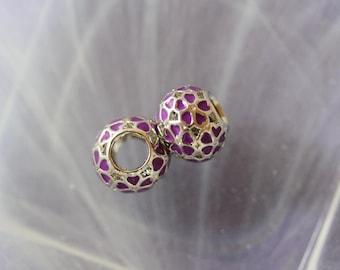 metal flower purple heart charm bead