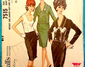 "Vintage 1960's suit double-breasted jacket skirt top bow sewing pattern - McCall's 7515 - plus size 18 (38"" bust, 30"" waist, 40"" hip) - 1964"