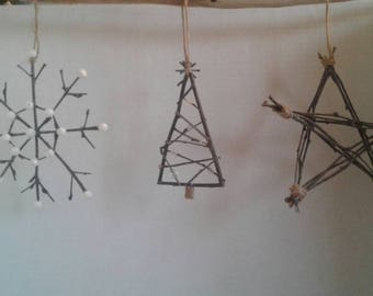Rustic twig ornaments (set of three)