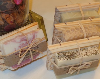 Gift! NATURAL Soap + WOODEN Dish (Set) Creamy, natural glycerin soap by Wild Herb