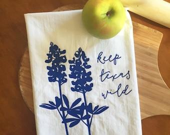 Keep Texas Wild Bluebonnet Screen Printed Flour Sack Tea Towel