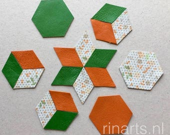 Leather hexagon and diamond shapes in orange, green and of white with print for your DIY projects. Quilt projects. Jewelry making