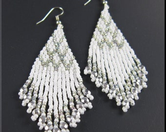 Native American Inspired Beadwork Seed Bead Earrings in Wedding White and Silver
