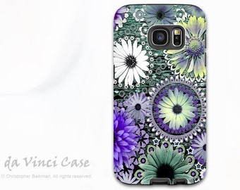 Floral Case for Samsung Galaxy S7 EDGE - Premium Dual Layer Galaxy S 7 EDGE Case with Purple and Green Floral Art - Tidal Bloom