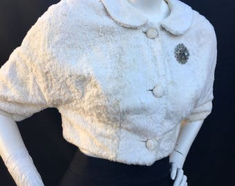 Vintage 1950s 50s white FAUX fur dolman cropped button down coat evening jacket