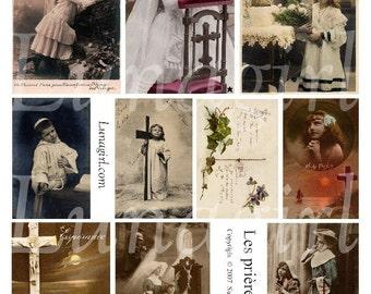 Vintage CHILDREN PRAYERS digital collage sheet, vintage photos, French postcards, religious images Victorian children, art ephemera DOWNLOAD