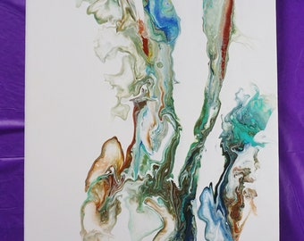 10X20in Acrylic Pour Painting on Canvas , Modern Art Abstract Painting, Original Abstract Acrylic Painting Fluid Acrylic
