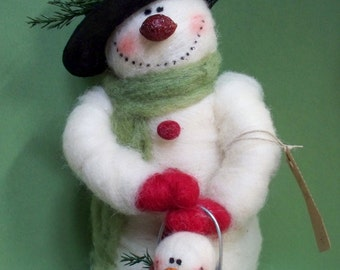 """Sonny the Snowman 9"""" Felted Wool Snowman - NEW for 2013"""
