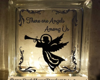 There are Angels Among Us Decorative Glass Block/Plate Decal / Vinyl  Inspirational Decal