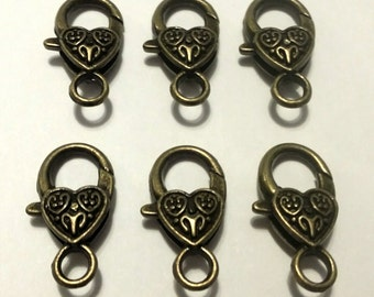 Heart Lobster Clasp - 20 pc. - Lobster Clasp - Snap hook - Heart Clasp - Bronze Heart Clasp - Large Lobster Clasp