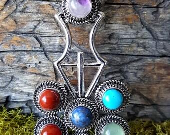 Silver 7 Chakra Pendant -  stone jewelry - 363