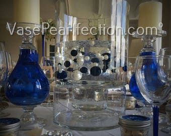Royal Blue & White Pearls - Jumbo/Assorted Sizes Vase Fillers for Centerpieces