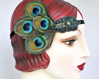Peacock Feather Headband, 1920s Flapper, Saloon Girl, Belle Epoch, Emerald Green