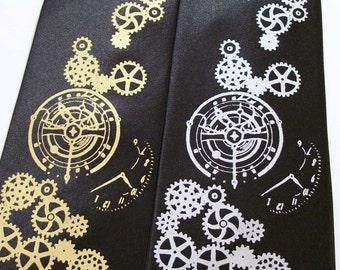 RokGear Clock Works print - Mens necktie - Steampunk tie
