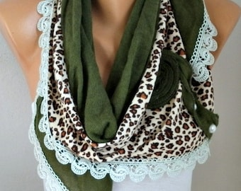Millitary Green Knitted Floral Scarf Shawl Cowl Lace Bridesmaid,Bridal Accessories Gift For Her Women Fashion Accessories