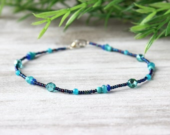 Gift for Friend, Blue Anklet, Ankle Jewelry, Beaded Anklet
