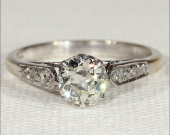 Antique Edwardian Solitaire Diamond Ring in 18k Gold and Platinum
