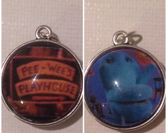 Peewee's Playhouse 2 Sided Charm Pendant Chairry and Sign