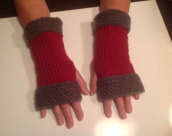 Alabama Ohio State crimson and gray fingerless gloves