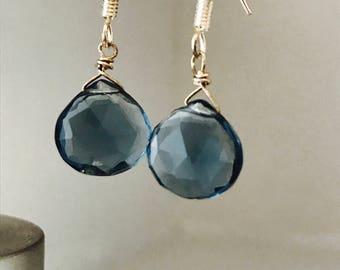 London Blue Topaz Earrings London Blue Earrings December Birthday December gift Quartz Earrings December Birthstone