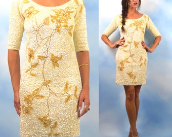 Vintage 60s Iridescent Sequined and Gold Beaded Mini Sweater Dress (size medium)