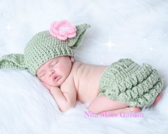 Baby Yoda Hat & Diaper Cover SET Star Wars Hat Newborn 0 3m Girls Crochet Baby Clothes POPULAR Worldwide Perfect Gift Daddies Love This