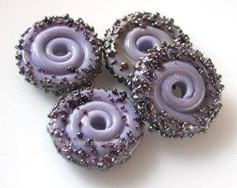 New Violet Luster Sugar Wavy Disks Lampwork Glass Beads - TANERES - glass disc bead - purple glass bead - lampwork disc bead - 15 mm