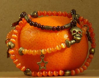 Halloween orange and Brown bracelets