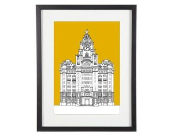 Liver Building Print | Liverpool Print | Liverpool Prints | Liverpool Illustration | City Prints | Architectural Print
