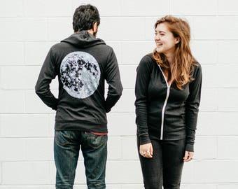 Moon Hoodie Men or Women, Celestial Lunar Best Friend Gift, LIGHTWEIGHT Zip Up Hoodie, Unisex Zip Hoodie Black Moon Sweatshirt, His or Hers