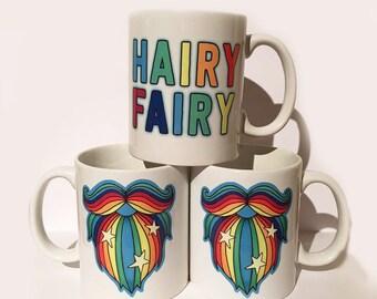 Hairy Fairy Rainbow Beard mug by GingerFace, bearded hipster mug cup