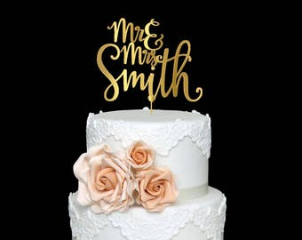 Personalized Wedding Cake Topper Custom Mr and Mrs Cake Topper Wedding Cake Topper  Last Name Wedding Cake topper Rustic Cake Topper
